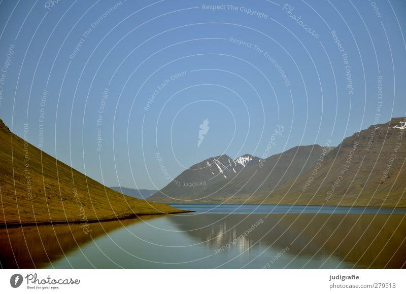 Island Umwelt Natur Landschaft Wasser Felsen Berge u. Gebirge Schneebedeckte Gipfel Küste Fjord Westfjord fantastisch natürlich wild Stimmung Idylle ruhig