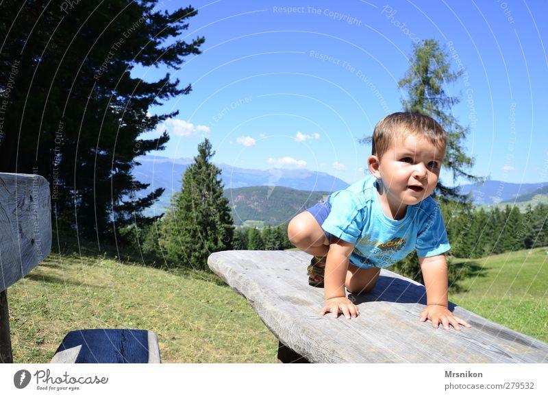 Alm-Pause Mensch Kind Natur Ferien & Urlaub & Reisen schön Sommer Sonne Wald Landschaft Berge u. Gebirge Wärme Junge träumen Kindheit wandern Tourismus