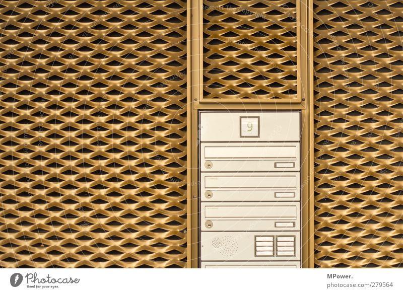 leben im goldenen käfig Haus Gebäude Architektur Mauer Wand Fassade Häusliches Leben Hemmungslosigkeit Briefkasten Klingel Schilder & Markierungen Käfig