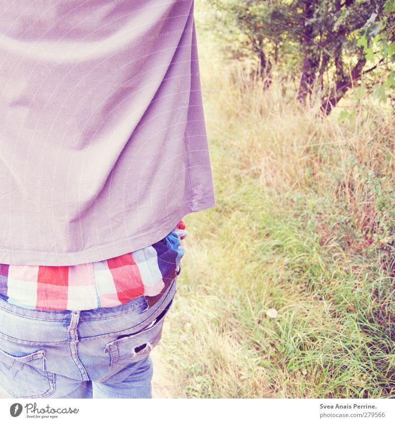 ! Mensch Natur Jugendliche Baum Erwachsene Umwelt Gras Junger Mann Mode 18-30 Jahre Rücken laufen maskulin Bekleidung Schönes Wetter Spaziergang