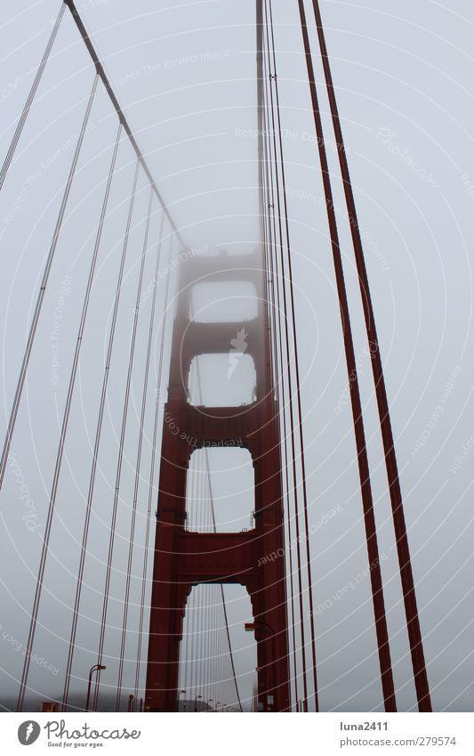 Golden Gate Bridge Himmel Stadt rot Nebel Brücke Wahrzeichen Sehenswürdigkeit San Francisco Golden Gate Bridge