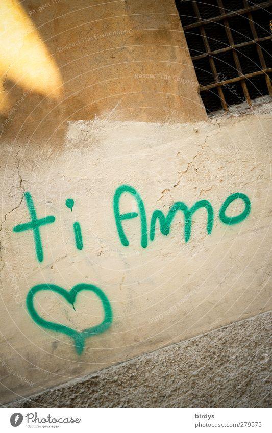 Was ich dir immer schon mal sagen wollte.. Stadt Liebe Graffiti Wand Mauer Glück Fassade authentisch Herz Schriftzeichen Romantik Freundlichkeit Information