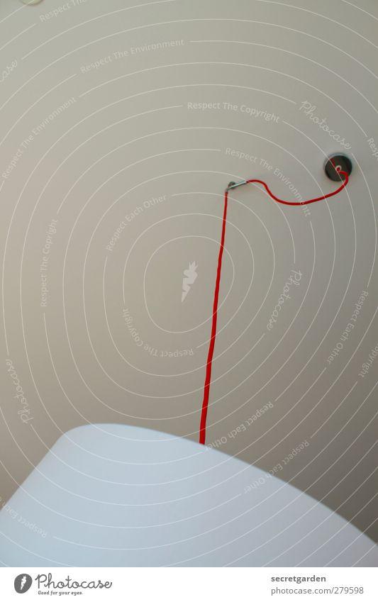 cool abhängen. Häusliches Leben Wohnung Lampe Raum Wohnzimmer rund rot weiß Kabel Elektrisches Gerät Lampenschirm Abzweigung Farbfoto Gedeckte Farben