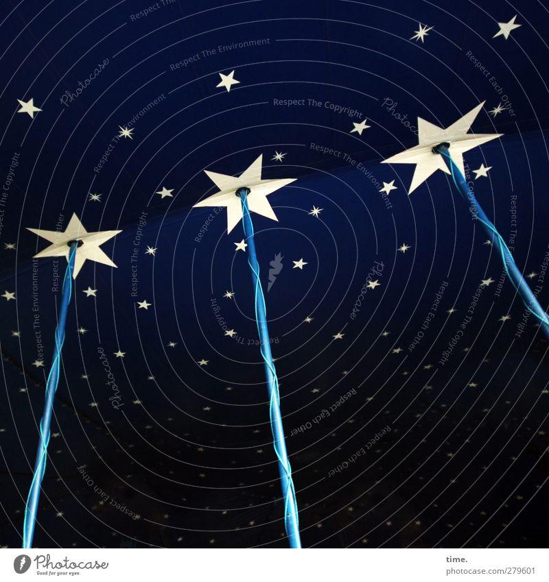 Sternenfänger Technik & Technologie Energiewirtschaft Zirkus Zelt Zelthimmel Stern (Symbol) Sternenhimmel Stab Kabel Metall Kunststoff Ornament blau ästhetisch