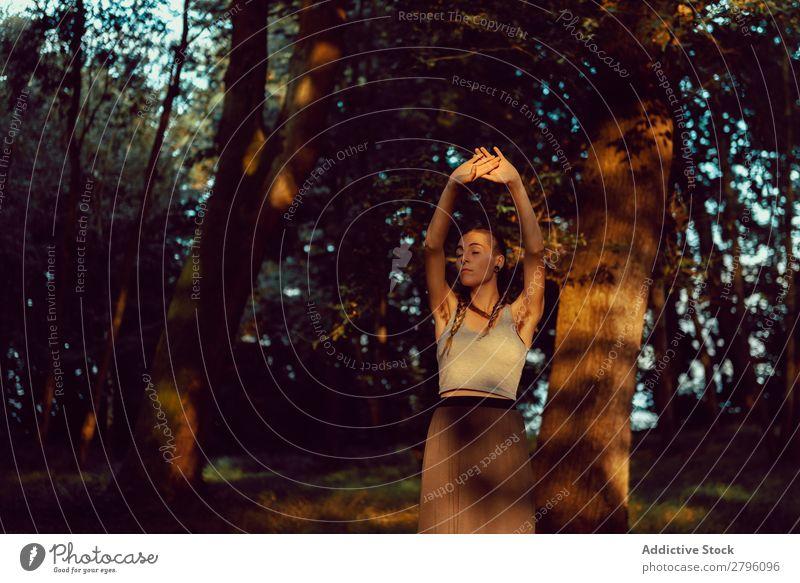 Junge Frau im majestätischen Wald ruhig harmonisch Natur Lifestyle Jugendliche Landschaft