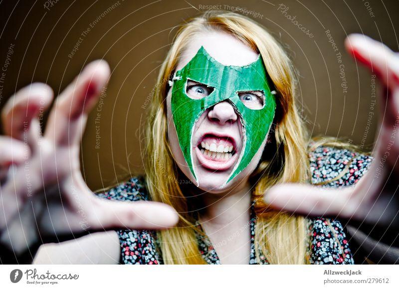 Wrestling Woman 1 Mensch Jugendliche grün Erwachsene feminin Junge Frau braun 18-30 Jahre außergewöhnlich verrückt bedrohlich Maske Karneval sportlich Wut