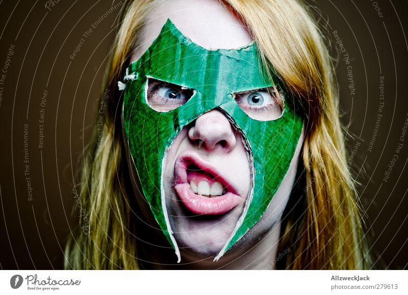 Wrestling Woman 2 Mensch Jugendliche grün Erwachsene feminin Junge Frau braun 18-30 Jahre außergewöhnlich verrückt bedrohlich Maske Karneval sportlich Wut