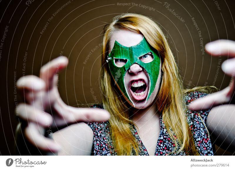 Wrestling Woman 3 Mensch Jugendliche grün Erwachsene feminin Junge Frau braun 18-30 Jahre außergewöhnlich verrückt bedrohlich Maske Karneval sportlich Wut Gewalt