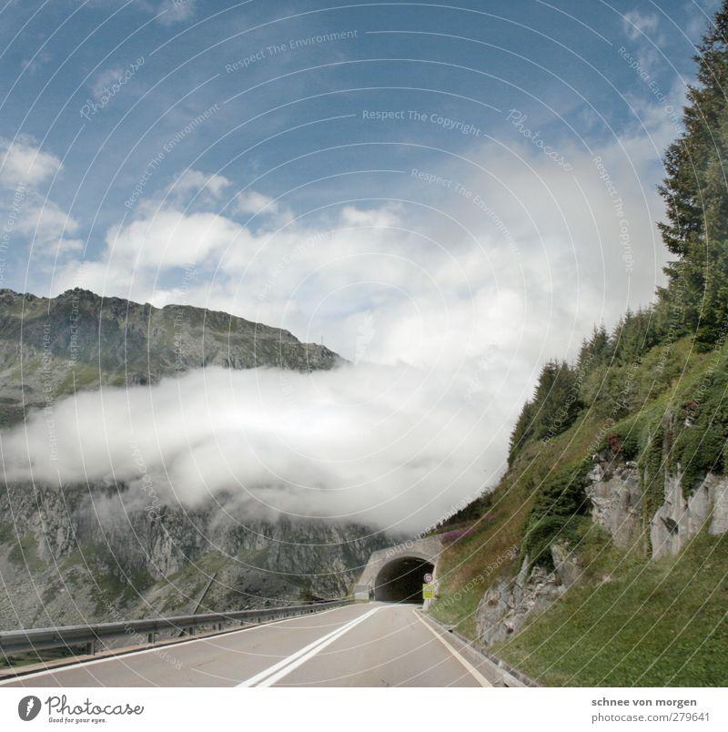 heiter bis wolkig Himmel Natur Wolken Landschaft Umwelt Berge u. Gebirge Gras Felsen Wetter Klima Nebel Verkehr Alpen Verkehrswege Autofahren Straßenverkehr