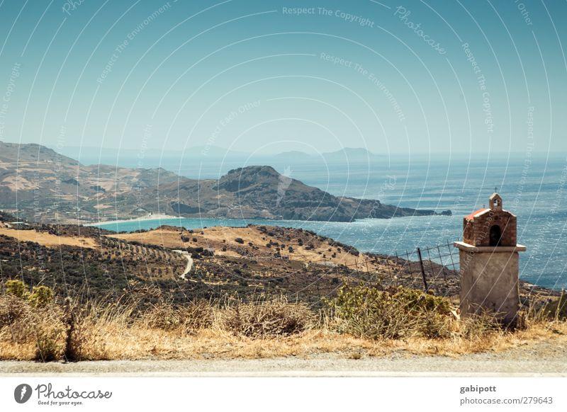 mehr meer Umwelt Natur Landschaft Urelemente Erde Wolkenloser Himmel Horizont Sommer Schönes Wetter Hügel Küste Meer Insel natürlich trocken blau braun