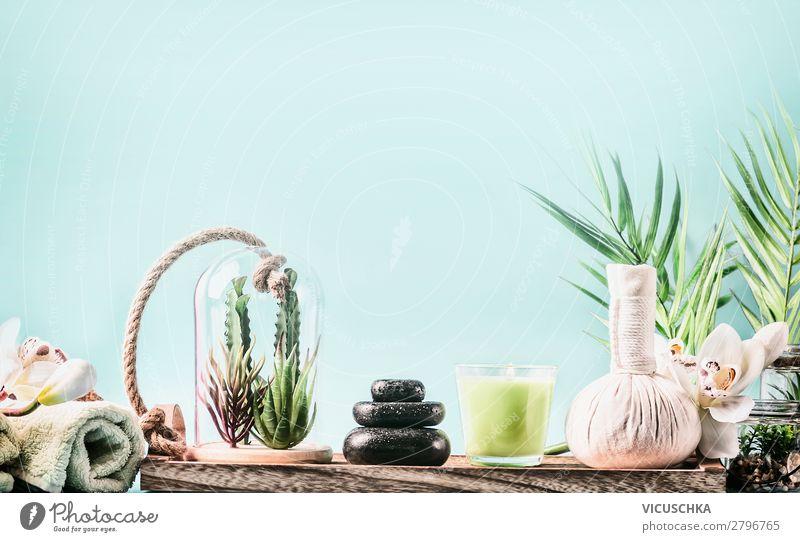SPA und Wellness mit Massage Zubehör Lifestyle schön Körperpflege Kosmetik Gesundheit Erholung Meditation Spa Ferien & Urlaub & Reisen Sommer Natur Pflanze