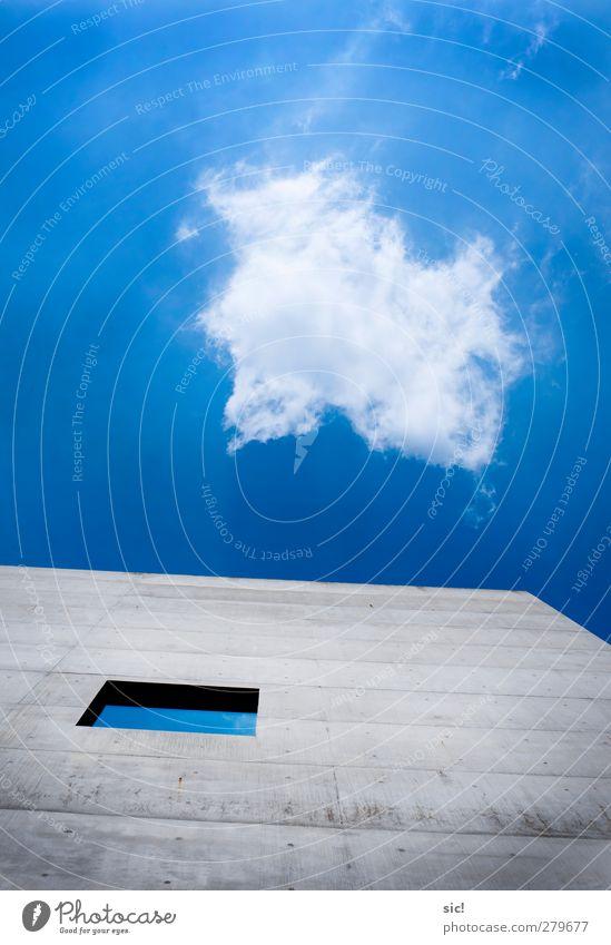 Wolkenfenster Architektur Luft Himmel Schönes Wetter Wind Stadt Menschenleer Hochhaus Gebäude Mauer Wand Fassade Fenster Luftverkehr Beton Pfeil fliegen