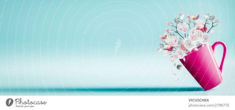 Rosa Tasse mit hübschen Frühlingsblüten kaufen Stil Design schön Feste & Feiern Valentinstag Muttertag Hochzeit Geburtstag Natur Pflanze Blume Blatt Blüte