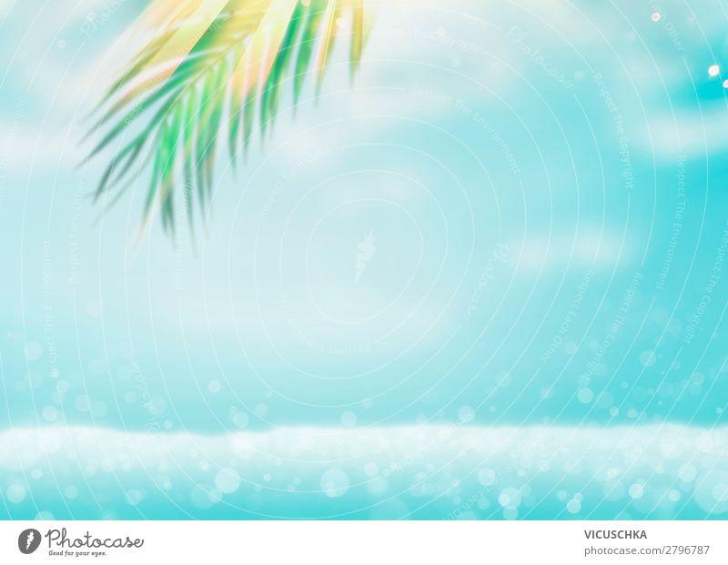 Sommer Meer Hintergrund mit Palmblätter Ferien & Urlaub & Reisen Natur Blatt Freude Strand Hintergrundbild Lifestyle Design Wellen Sommerurlaub sommerlich