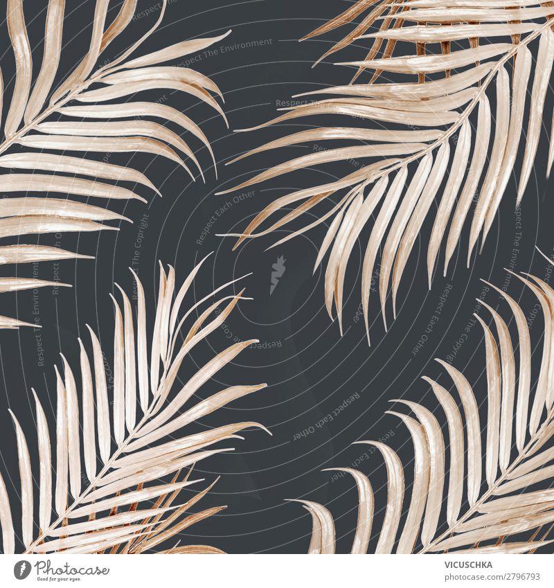 Hell goldenes gebogenes Palmblatt Muster Stil Design exotisch Ferien & Urlaub & Reisen Sommer Natur Blatt Mode Dekoration & Verzierung Ornament gelb