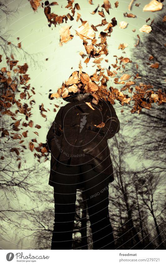 schon herbst Mensch feminin Junge Frau Jugendliche Erwachsene 1 Natur Wolken Gewitterwolken Herbst schlechtes Wetter Wind Regen Mantel Pelzmantel kalt trist