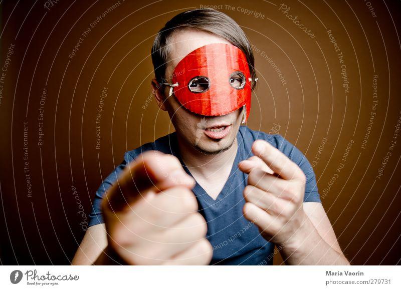 Das Pendant zum Quotegirl! Mensch Mann Erwachsene sprechen Stil maskulin verrückt T-Shirt Kommunizieren geheimnisvoll Maske Beratung Konflikt & Streit skurril brünett Held