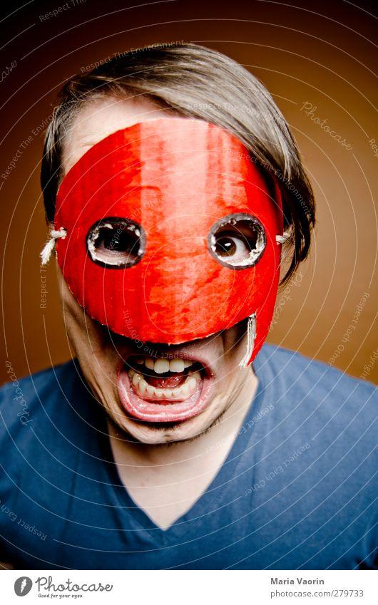 Wer sich mit dem Quoteman anlegt... Mensch maskulin Mann Erwachsene 1 30-45 Jahre T-Shirt Maske brünett kurzhaarig Scheitel Beratung Kommunizieren sprechen