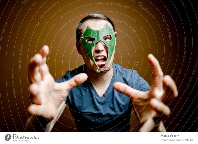 Der Zorn des Wrestling Mans Mensch Mann Erwachsene maskulin verrückt Macht bedrohlich T-Shirt Maske fangen Wut Mut skurril schreien brünett kämpfen
