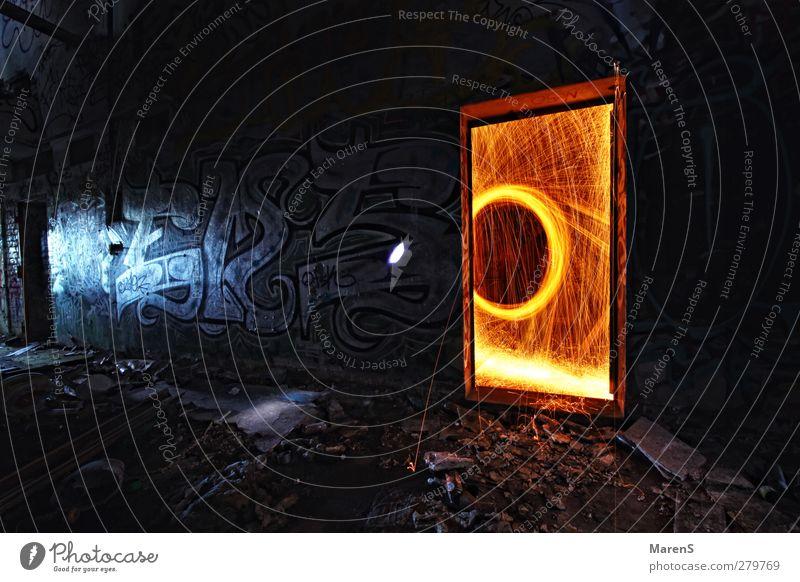 Das Tor in eine andere Welt Bewegung glänzend leuchten Abenteuer chaotisch Ruine Industrieanlage Endzeitstimmung