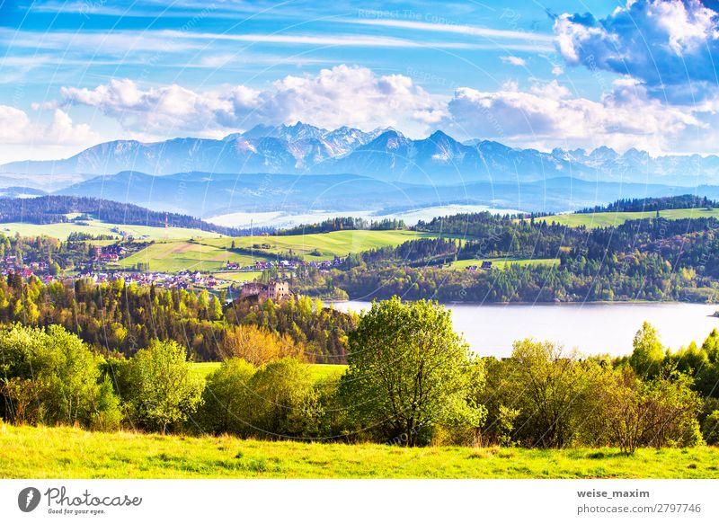 Himmel Ferien & Urlaub & Reisen Natur Sommer blau schön grün Landschaft Baum Haus Wolken Wald Ferne Berge u. Gebirge Architektur Frühling
