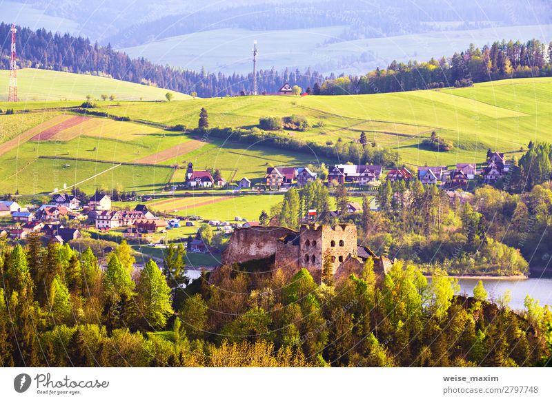 Ferien & Urlaub & Reisen Natur Sommer Pflanze blau schön grün Landschaft Baum Haus Wald Ferne Berge u. Gebirge Architektur Frühling Wiese