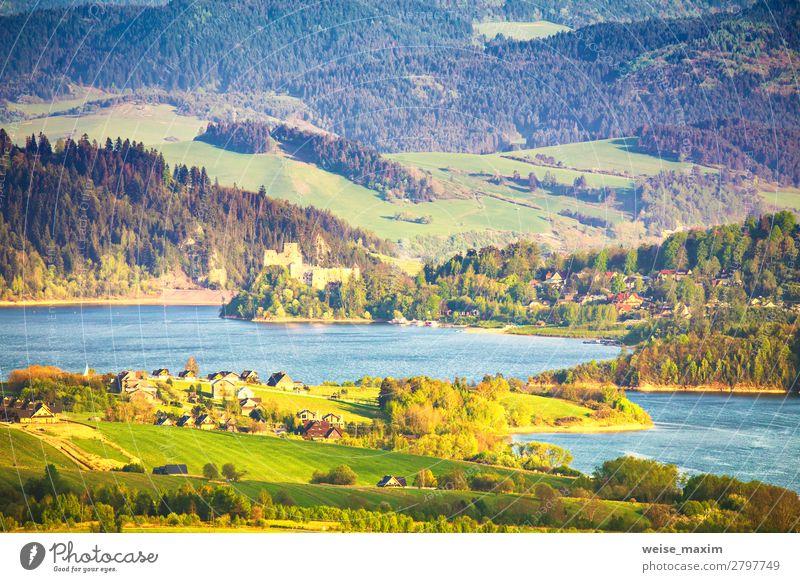 Ferien & Urlaub & Reisen Natur Sommer blau schön grün Wasser Landschaft Baum Haus Wald Ferne Berge u. Gebirge Architektur Frühling Wiese