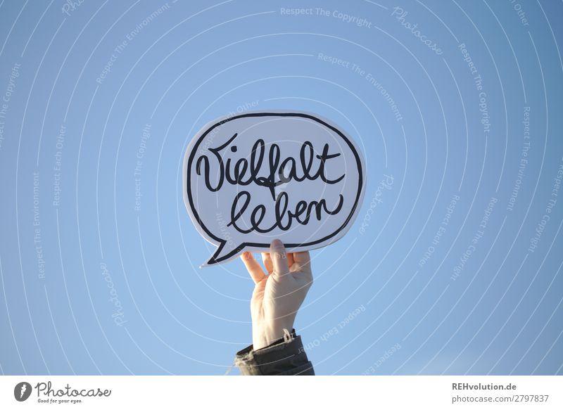 Sprechblasen | Vielfalt leben Himmel Hand Lifestyle Religion & Glaube Menschengruppe Zusammensein Schriftzeichen Schilder & Markierungen Lebensfreude