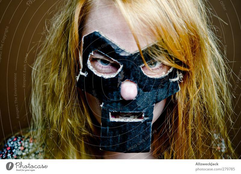 Doomsgirl 2 Karneval feminin Junge Frau Jugendliche 1 Mensch 18-30 Jahre Erwachsene Maske blond rothaarig langhaarig außergewöhnlich dunkel trashig verrückt