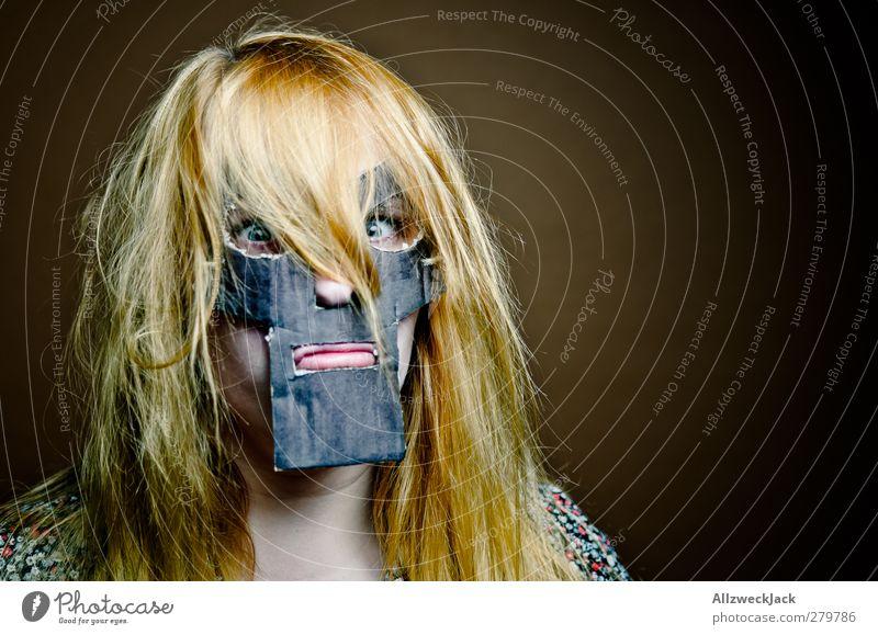 Doomsgirl 1 Karneval feminin Junge Frau Jugendliche Mensch 18-30 Jahre Erwachsene Maske blond rothaarig langhaarig außergewöhnlich dunkel trashig verrückt braun