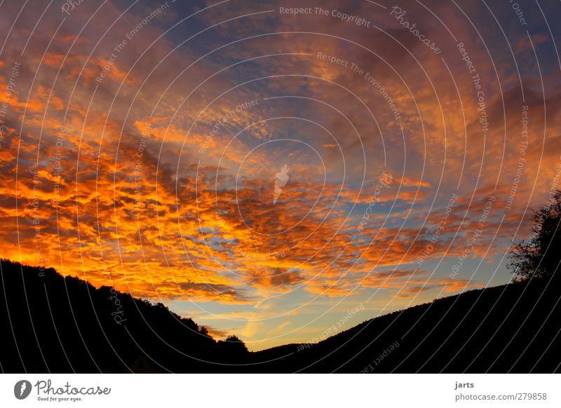 beginning Umwelt Himmel Wolken Horizont Sonnenaufgang Sonnenuntergang Klima Schönes Wetter frisch natürlich neu blau orange rot Zufriedenheit Warmherzigkeit