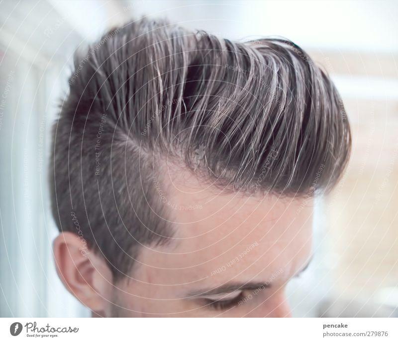 männlich | Wellness Stil schön Körperpflege Haare & Frisuren Leben harmonisch maskulin Mann Erwachsene 1 Mensch 18-30 Jahre Jugendliche Mode brünett Tolle Quiff