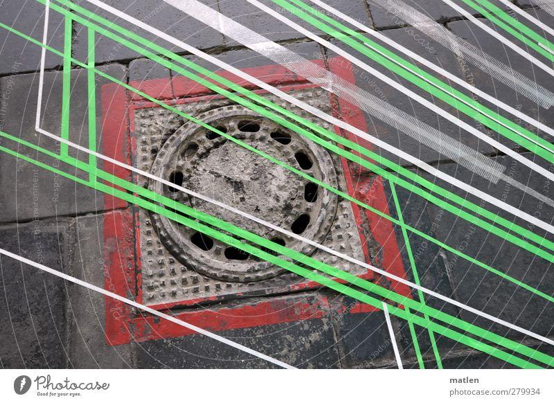 beeline grün weiß schön rot Metall Beton Streifen Quadrat Gully