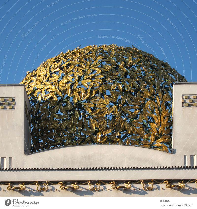 Goldlaub Kunst Museum Architektur Kultur Himmel Wien Österreich Hauptstadt Stadtzentrum Bauwerk Fassade Sehenswürdigkeit Wahrzeichen Denkmal Sezession