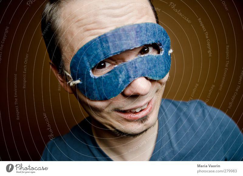 Mr. Supercharming Basteln maskulin Mann Erwachsene 1 Mensch 30-45 Jahre Maske brünett kurzhaarig Scheitel Brunft Lächeln Coolness Glück positiv verrückt