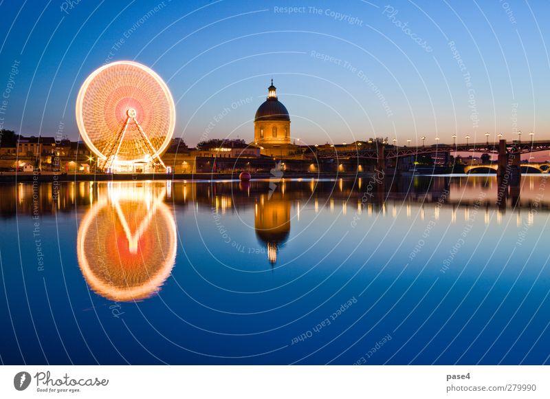 Riesenrad am Abend, Toulouse Sightseeing Entertainment Fluss Kleinstadt Stadt Brücke Gebäude Architektur dunkel hell blau gold orange antik Hintergrund