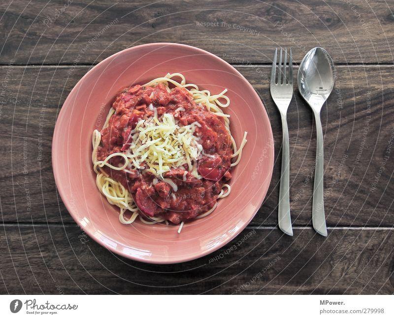 jummy jummy Lebensmittel Ernährung Essen Mittagessen Italienische Küche Geschirr Teller Gabel Löffel füttern braun gelb rot silber Völlerei gefräßig Nudeln