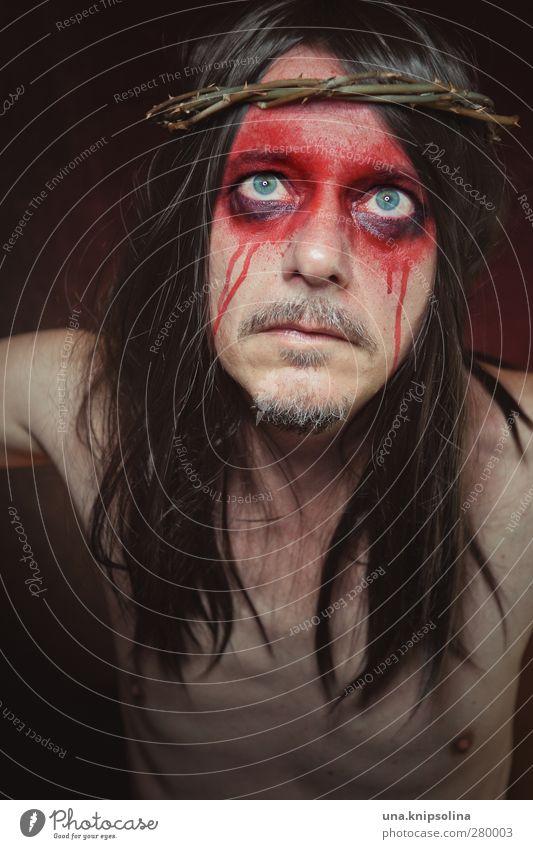jesus crempl superstar Mensch Mann rot Erwachsene Gesicht dunkel Tod Religion & Glaube Traurigkeit Denken außergewöhnlich maskulin verrückt bedrohlich