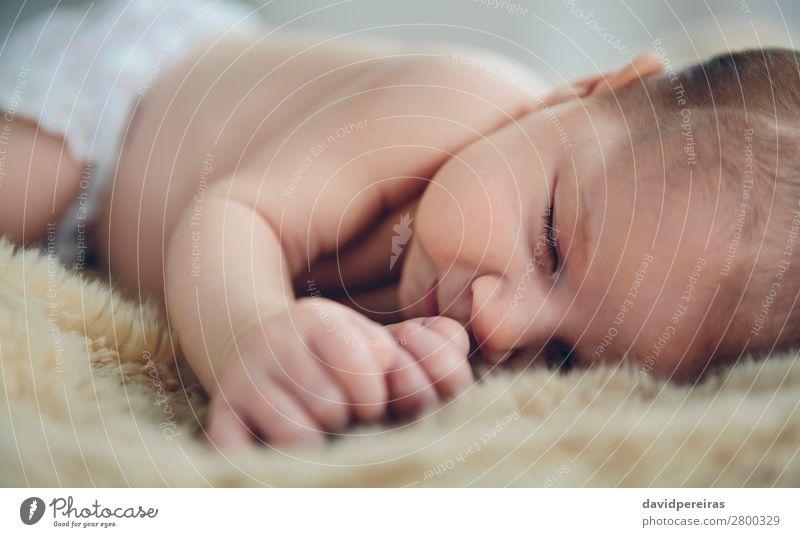 Baby schläft auf einer Decke schön ruhig Schlafzimmer Kind Mensch Frau Erwachsene Kindheit schlafen authentisch klein nackt niedlich bequem unschuldig traumhaft