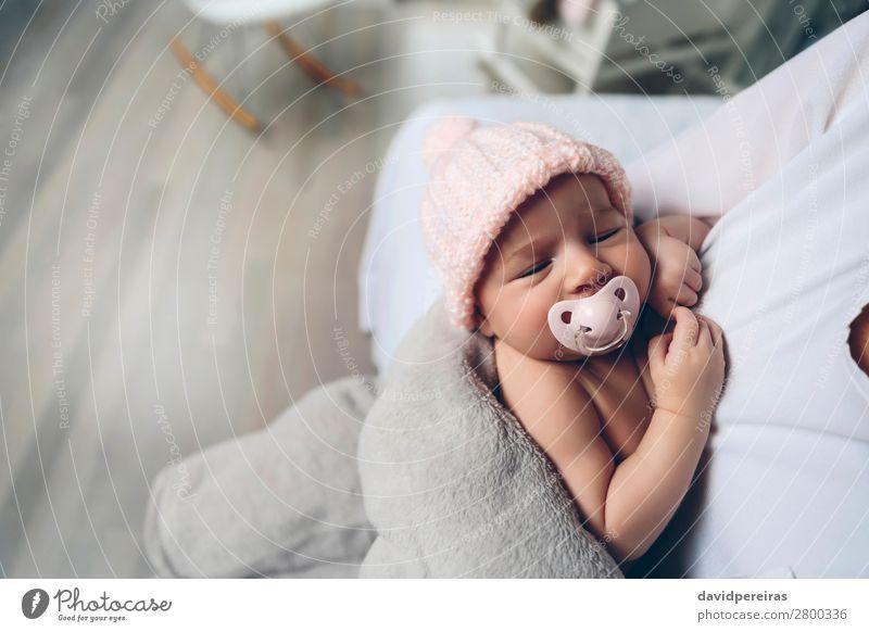 Frau Kind Mensch schön ruhig Gesicht Lifestyle Erwachsene Liebe Familie & Verwandtschaft klein Textfreiraum rosa Kindheit authentisch Baby