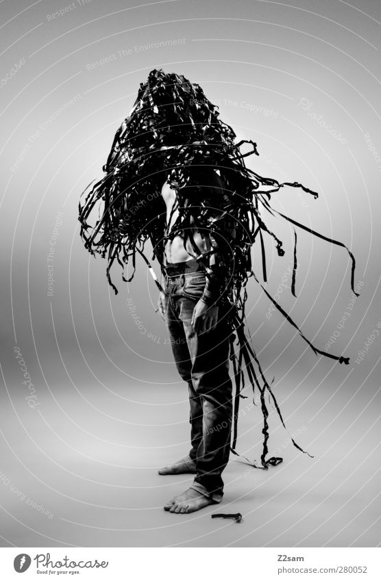 Metamorphose elegant Stil Mensch maskulin Junger Mann Jugendliche 1 18-30 Jahre Erwachsene Skulptur Medien Filmindustrie Video Jeanshose Kommunizieren stehen