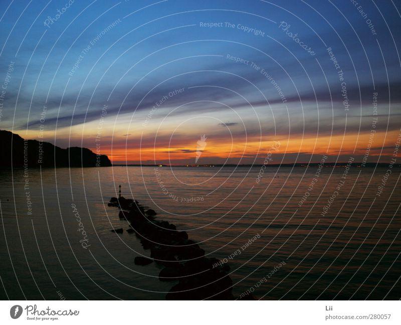 Sonnenuntergang Natur Landschaft Wasser Himmel Wolken Nachthimmel Sonnenaufgang Sonnenlicht Sommer Schönes Wetter Küste Ostsee Meer Stein Sand Schwimmen & Baden