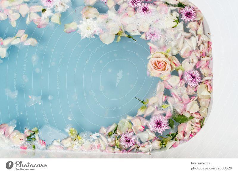 Bad gefüllt mit blauem Seifenblasenwasser, Blumen und Blütenblättern aromatisch Kunst Schwimmen & Baden Badewanne Beautyfotografie Bombe Blumenstrauß Sauberkeit