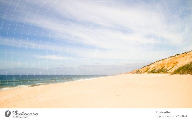 Strand in Portugal Ferien & Urlaub & Reisen Ferne Sonne Wellen Natur Sand Himmel Sommer Schönes Wetter Felsen Küste Glück Perspektive Atlantik Meer Farbfoto