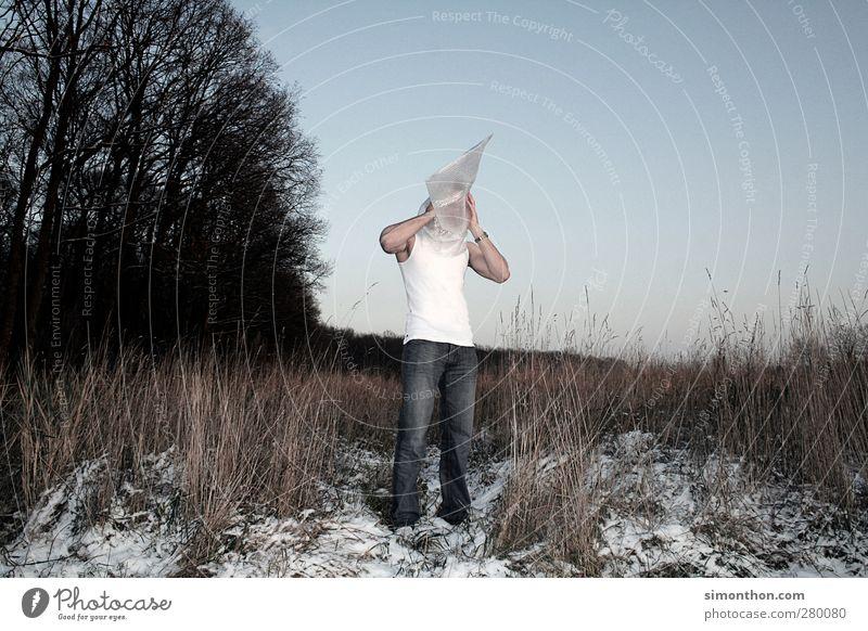 tüte Mensch Jugendliche Einsamkeit Erwachsene Tod Traurigkeit Luft 18-30 Jahre Feld maskulin Ende Todesangst Stress Platzangst Zukunftsangst Verzweiflung