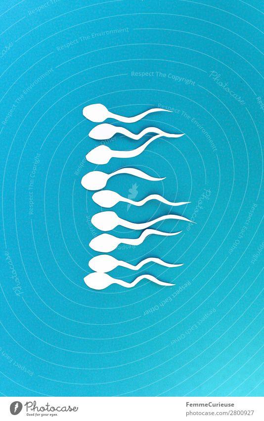 Symbol picture - a group of sperm Zeichen Sex Sexualität Spermien blau weiß Symbole & Metaphern Biologie Grafik u. Illustration Grafische Darstellung Papier