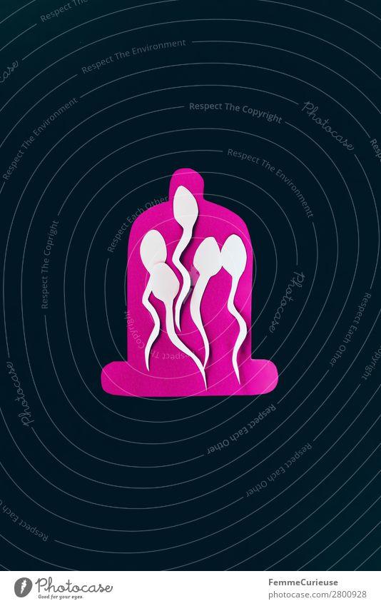 Contraception - sperm trapped in a condom Zeichen Sex Sexualität Spermien Kondom Verhütungsmittel Familienplanung schwarz rosa weiß Grafik u. Illustration