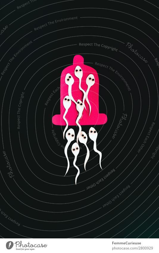Symbol image for contraception - sperm in condom Zeichen Sex Sexualität Kondom Spermien Verhütungsmittel schwarz rosa Symbole & Metaphern Grafik u. Illustration
