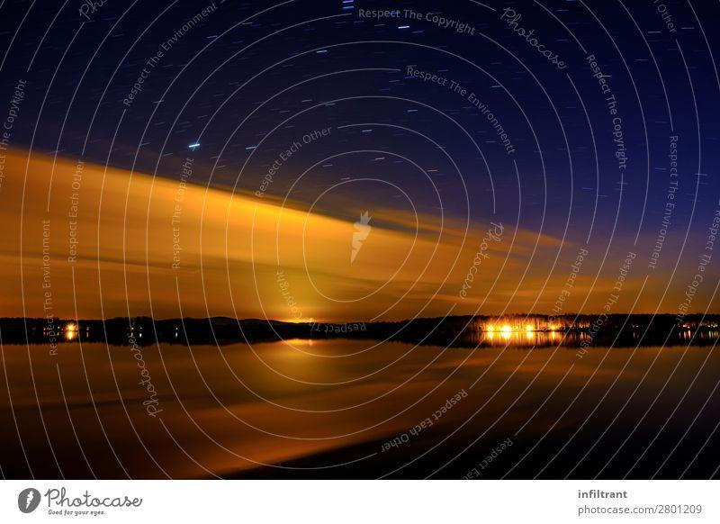 Abends am See Umwelt Natur Landschaft Wasser Himmel Sonnenaufgang Sonnenuntergang dunkel maritim nass natürlich blau gelb orange schwarz schön achtsam ruhig