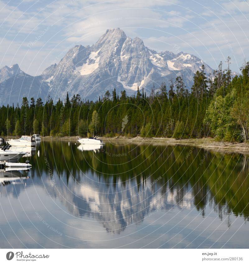 Colter Bay Marina - Grand Teton Natur blau Wasser Ferien & Urlaub & Reisen grün weiß ruhig Landschaft Erholung Berge u. Gebirge Küste Freizeit & Hobby